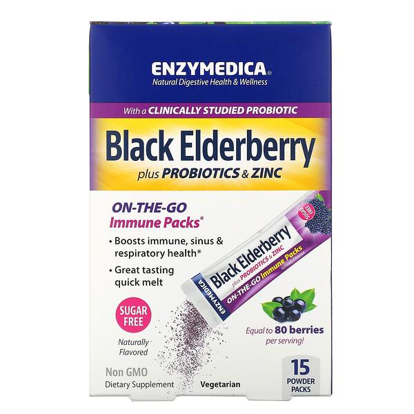 Black Elderberry Plus Probiotics & Zinc, 15 Powder Packs