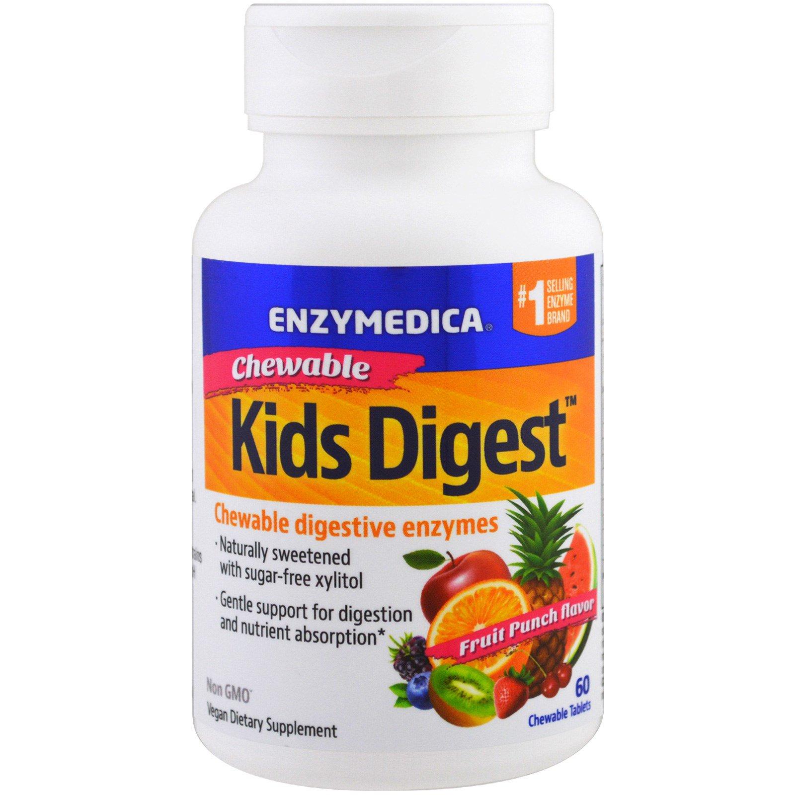 Enzymedica, Пищеварение детей, жевательные пищеварительные ферменты, 60 жевательных таблеток