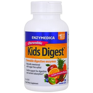 Энзаймедика, Kids Digest, Chewable Digestive Enzymes, Fruit Punch, 90 Chewable Tablets отзывы покупателей
