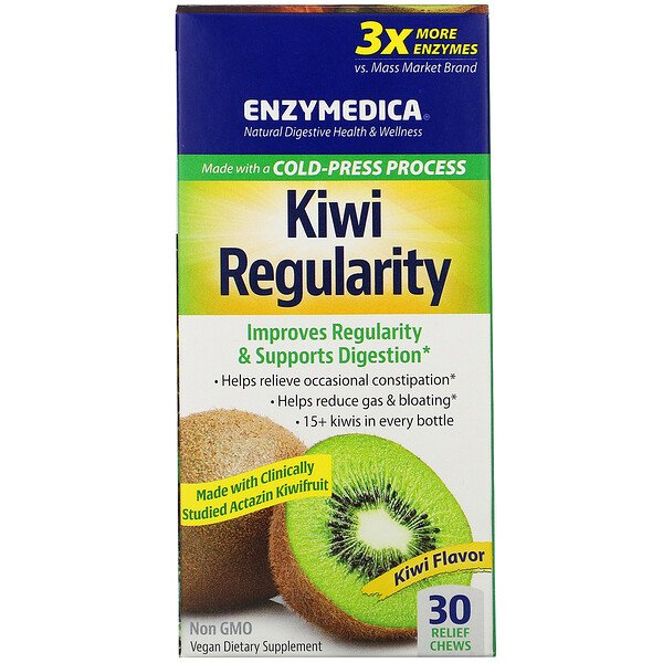 Enzymedica, Kiwi Regularity, Kiwi Flavor, 30 Relief Chews