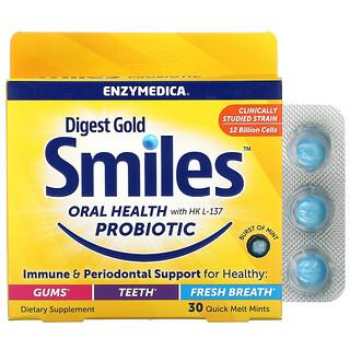 Enzymedica, Digest Gold Smiles Oral Health with HK L-137 Probiotic, 30 Quick Melt Mints