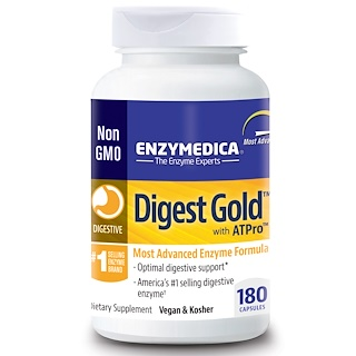 Enzymedica, Digest Gold, with ATPro, 180 Capsules