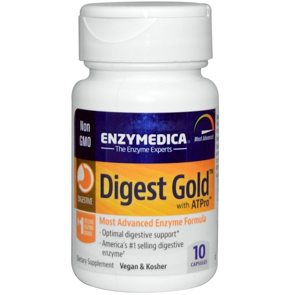 Enzymedica, Digest Gold с ATPro, 10 капсул