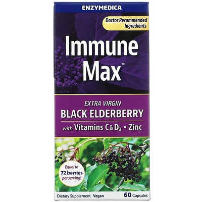 Enzymedica Immune Max, Black Elderberry with Vitamins C & D3, Zinc, 60 Capsules