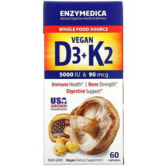 Enzymedica, 維生素 D3 + K2,60 粒膠囊