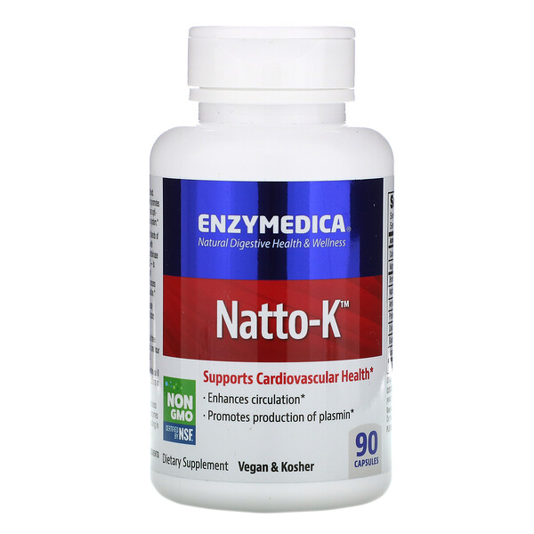 Enzymedica, Natto-K, Cardiovascular, 90 Capsules
