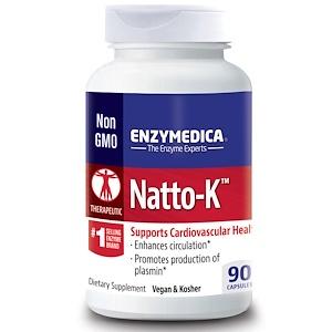 Enzymedica, Natto-K, для сердечно-сосудистой системы, 90 капсул инструкция, применение, состав, противопоказания