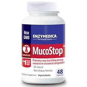 Enzymedica, MucoStop, 48 капсул инструкция, применение, состав, противопоказания