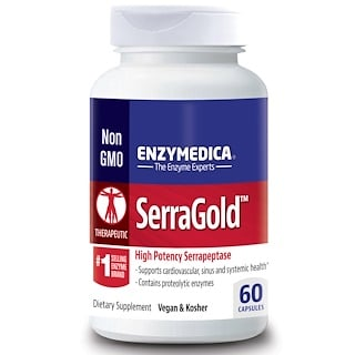 Enzymedica, SerraGold, High Activity Serrapeptase, 60 Capsules