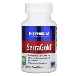 Энзаймедика, SerraGold, High Potency Serrapeptase, 60 Capsules отзывы