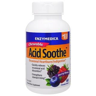 Enzymedica, Mastigável Ácido Suave, Sabor Berry, 60 Comprimidos Mastigáveis