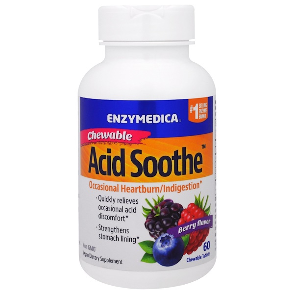 Enzymedica, Chewable Acid Soothe, Berry Flavor, 60 Chewable Tablets (Discontinued Item)