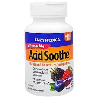 Enzymedica, Chewable Acid Soothe, Berry Flavor, 30 Chewable Tablets