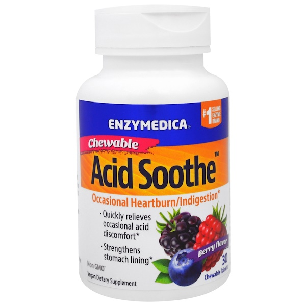 Enzymedica, Chewable Acid Soothe, Berry Flavor, 30 Chewable Tablets (Discontinued Item)