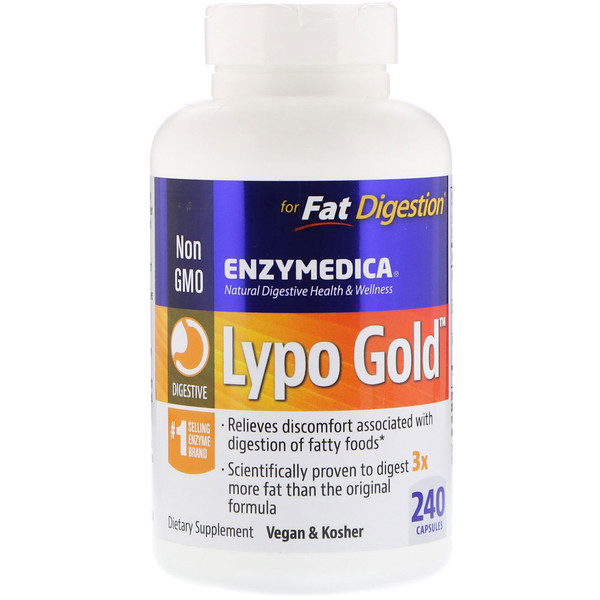 Enzymedica, Lypo Gold, For Fat Digestion, 240 Capsules