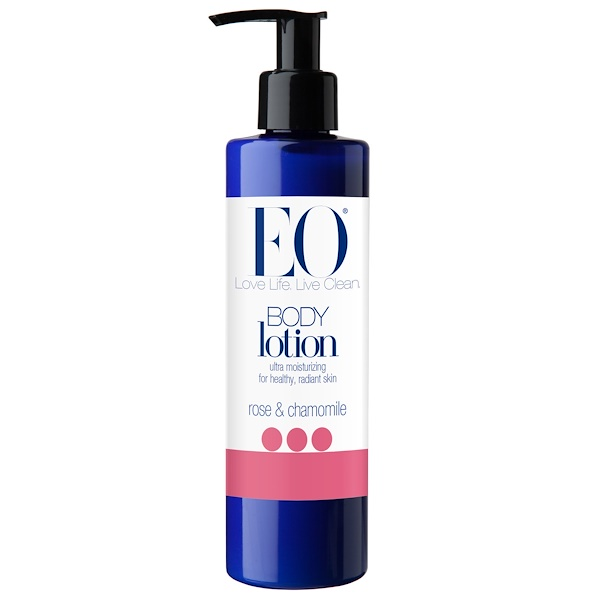 EO Products, Body Lotion, Rose & Chamomile, 8 fl oz (236 ml) (Discontinued Item)