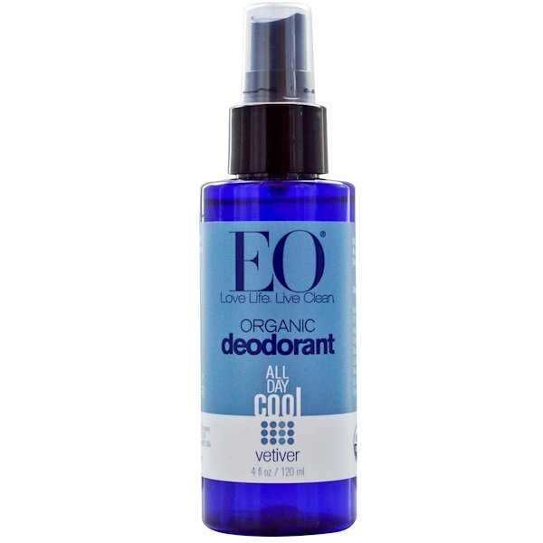 EO Products, Organic Deodorant Spray, Vetiver, 4 fl oz (120 ml) (Discontinued Item)