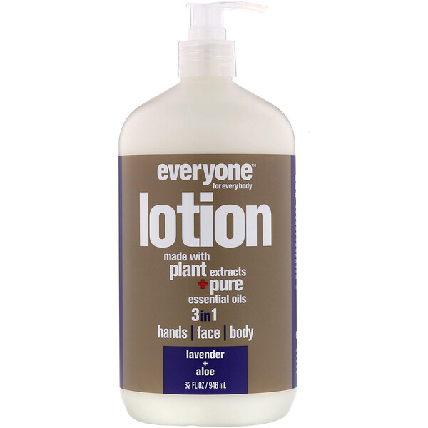 EO Products, Everyone Lotion, 3 in 1, Lavender + Aloe, 32 fl oz (946 ml) (Discontinued Item)