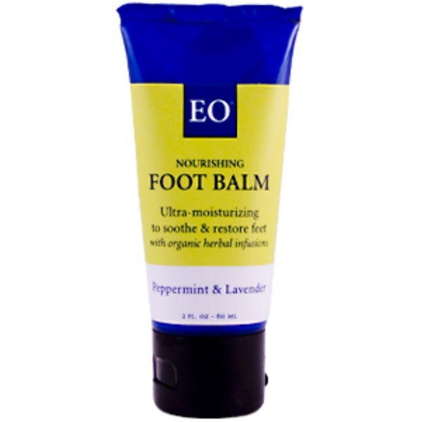 EO Products, Foot Balm, Peppermint & Lavender, 2 fl oz (60 ml) (Discontinued Item)
