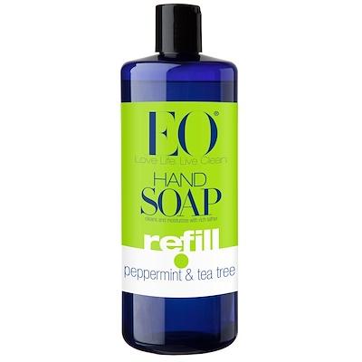 EO Products 洗手液補充裝,薄荷茶樹,32液體盎司(960毫升)