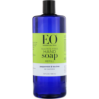 EO Products, Hand Soap Refill, Peppermint & Tea Tree, Sulfate-Free, 32 fl oz (946 ml)