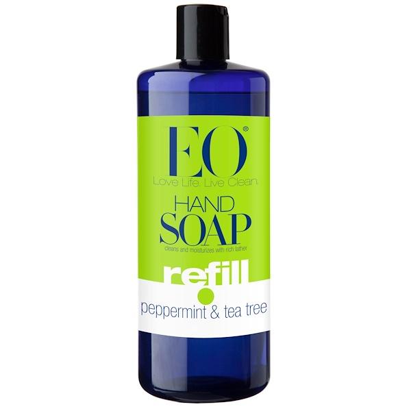 EO Products, ハンドソープ・リフィル、ペパーミント &ティーツリー、  32 液量オンス (960 ml)