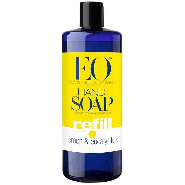 EO Products, Hand Soap, Refill, Lemon & Eucalyptus, 32 fl oz (946 ml) (Discontinued Item)