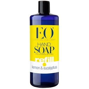 EO Products, Hand Soap, Refill, Lemon & Eucalyptus 32 fl oz (946 ml)