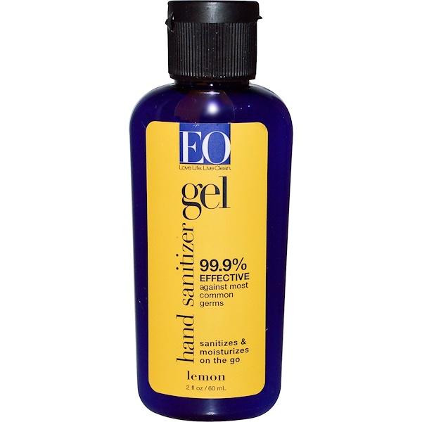 EO Products, Hand Sanitizer Gel, Lemon, 2 fl oz (60 ml) (Discontinued Item)