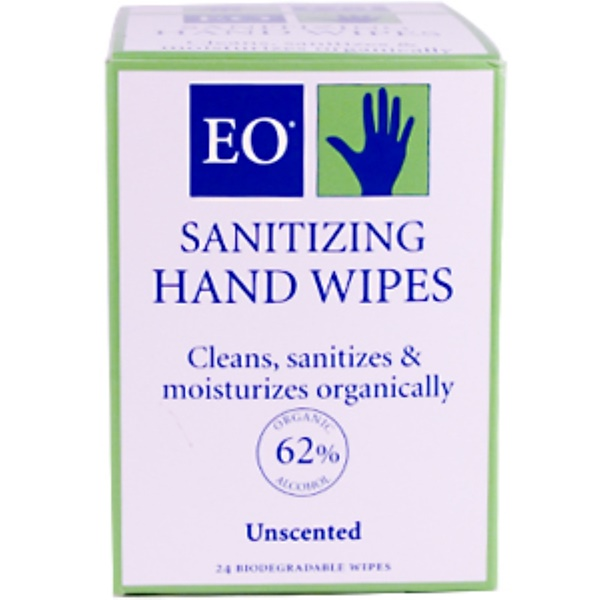 EO Products, Sanitizing Hand Wipes, Unscented, 24 Wipes (Discontinued Item)