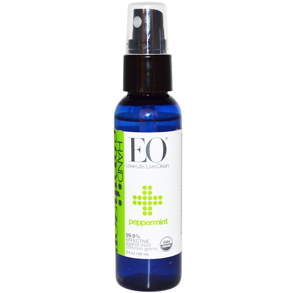 EO Products, Hand Sanitizer Spray, Peppermint, 2 fl oz (60 ml) (Discontinued Item)