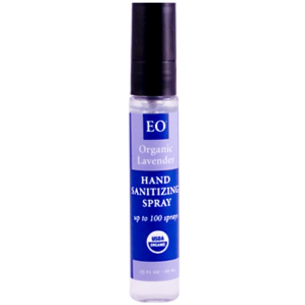 EO Products, Hand Sanitizing Spray, Organic Lavender, .33 fl oz (10 ml) (Discontinued Item)