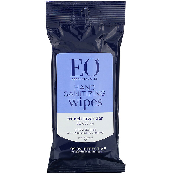 EO Products, Hand Sanitizing Wipes, Lavender, 6 Pack (Discontinued Item)