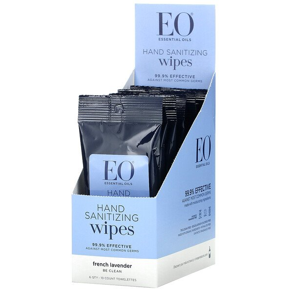 EO Products, Hand Sanitizing Wipes, French Lavender, 6 Pack, 10 Count Towelettes