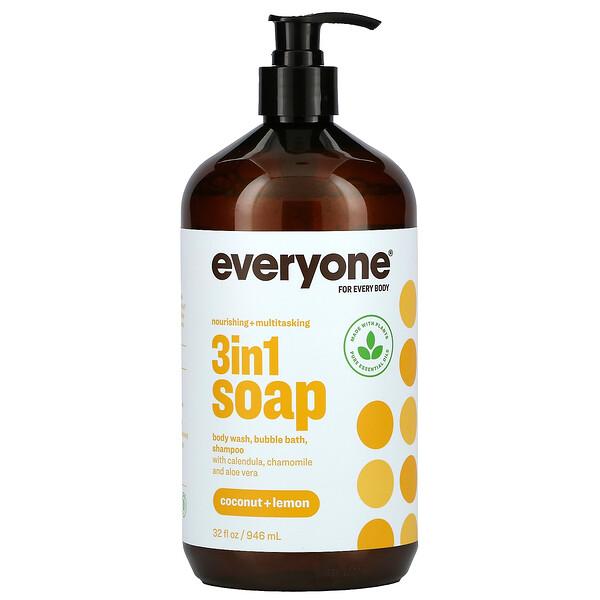 Everyone Soap for Every Body, 3 in 1, Coconut + Lemon, 32 fl oz (946 ml)