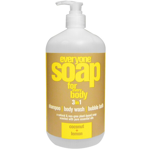 EO Products, Everyone Soap for Every Body, 3 in 1, Coconut + Lemon, 32 fl oz (946 ml) (Discontinued Item)