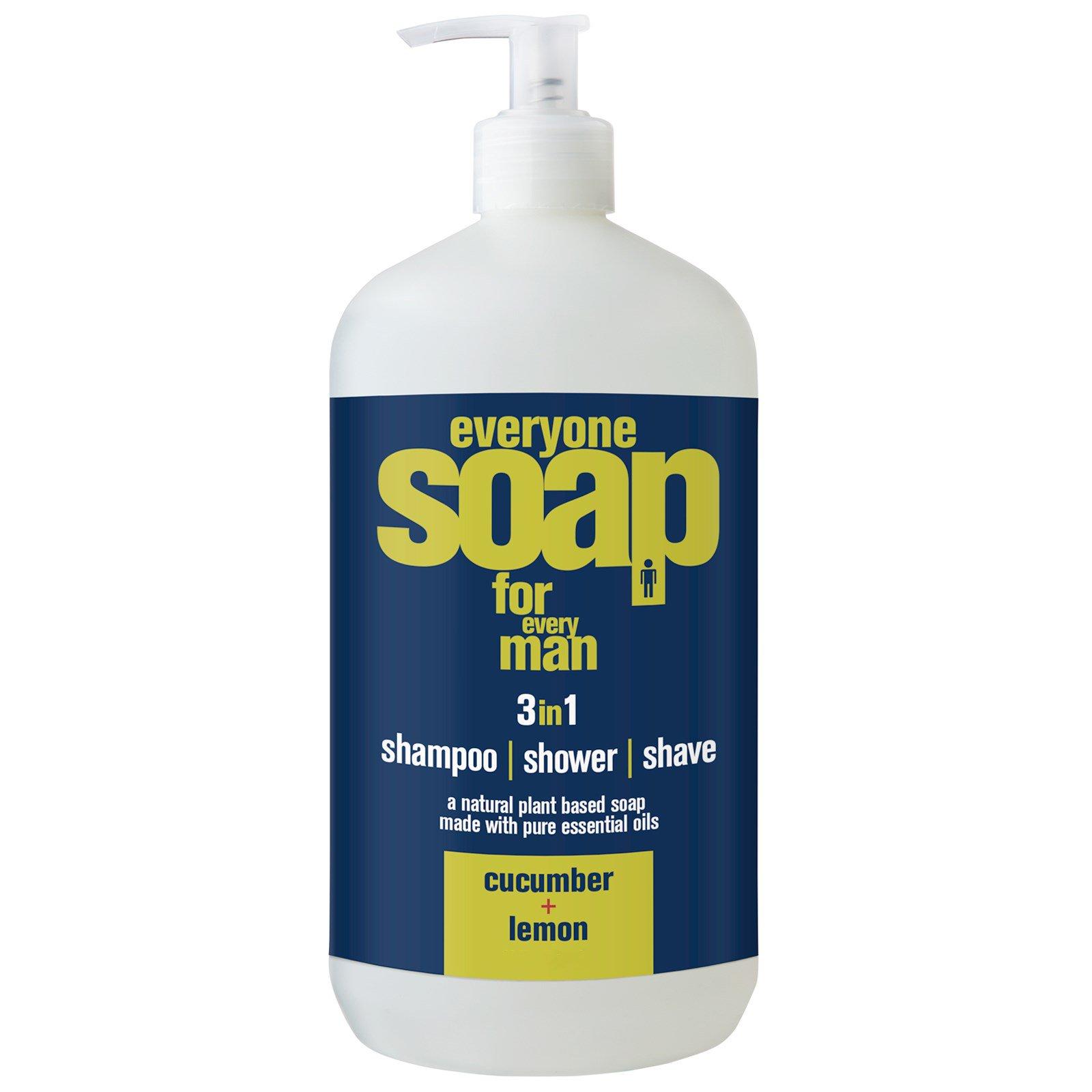 EO Products, Мыло 3в1 для мужчин: шампунь, гель для душа и пена для бритья с ароматом огурца и лимона, 32 жидких унции (960 мл)