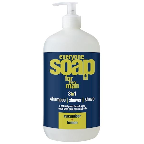EO Products, Everyone男士液體皂,三合一,黃瓜+檸檬,32液盎司(960毫升)