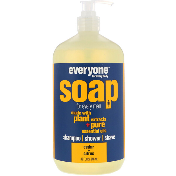 EO Products, Everyone Soap para cada hombre, Cedar + Citrus, 32 fl oz (960 ml)