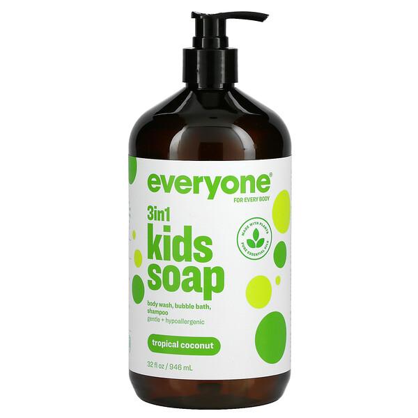 Everyone Soap para Niños, Coco Tropical, 32 fl oz (960 ml)