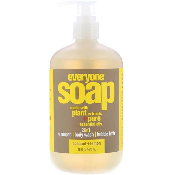 EO Products, Everyone Soap、3イン1、ココナッツ + レモン、16 fl oz (473 ml)