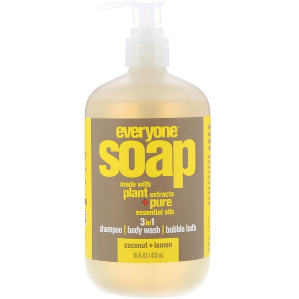EO Products, Everyone Soap, 3 in 1, Coconut + Lemon, 16 fl oz (473 ml)