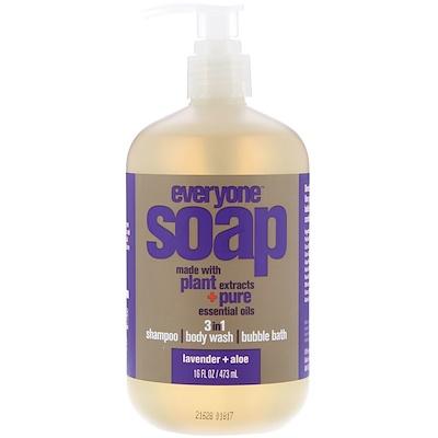 EO Products Everyone皂,3合1,薰衣草+蘆薈,16液量盎司(473毫升)