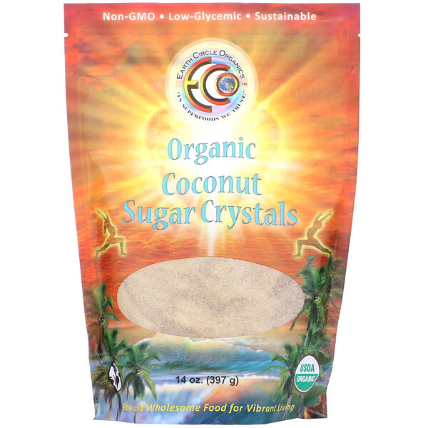 Earth Circle Organics, Organic Coconut Sugar Crystals, 14 oz (397 g)