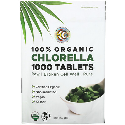 Купить Earth Circle Organics 100% Organic Chlorella Tablets, 1, 000 Tablets, 8.75 oz (248 g)