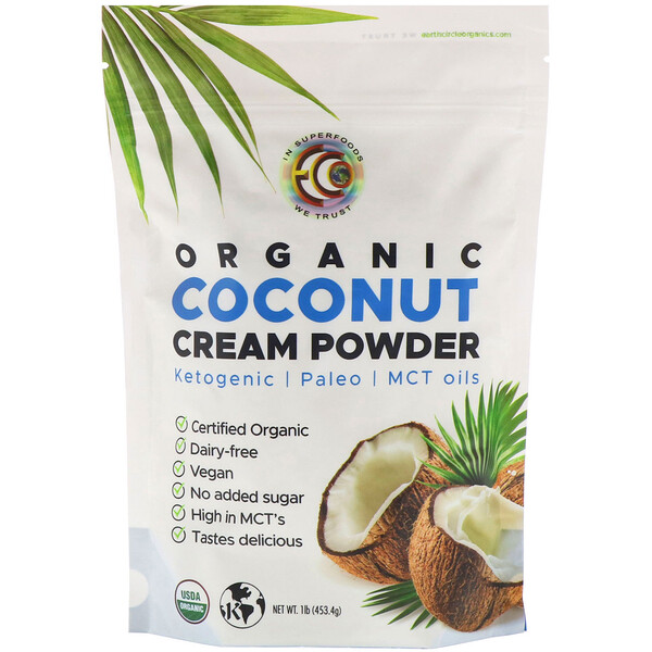 Earth Circle Organics, Organic Coconut Cream Powder, 1 lb (453.4 g)
