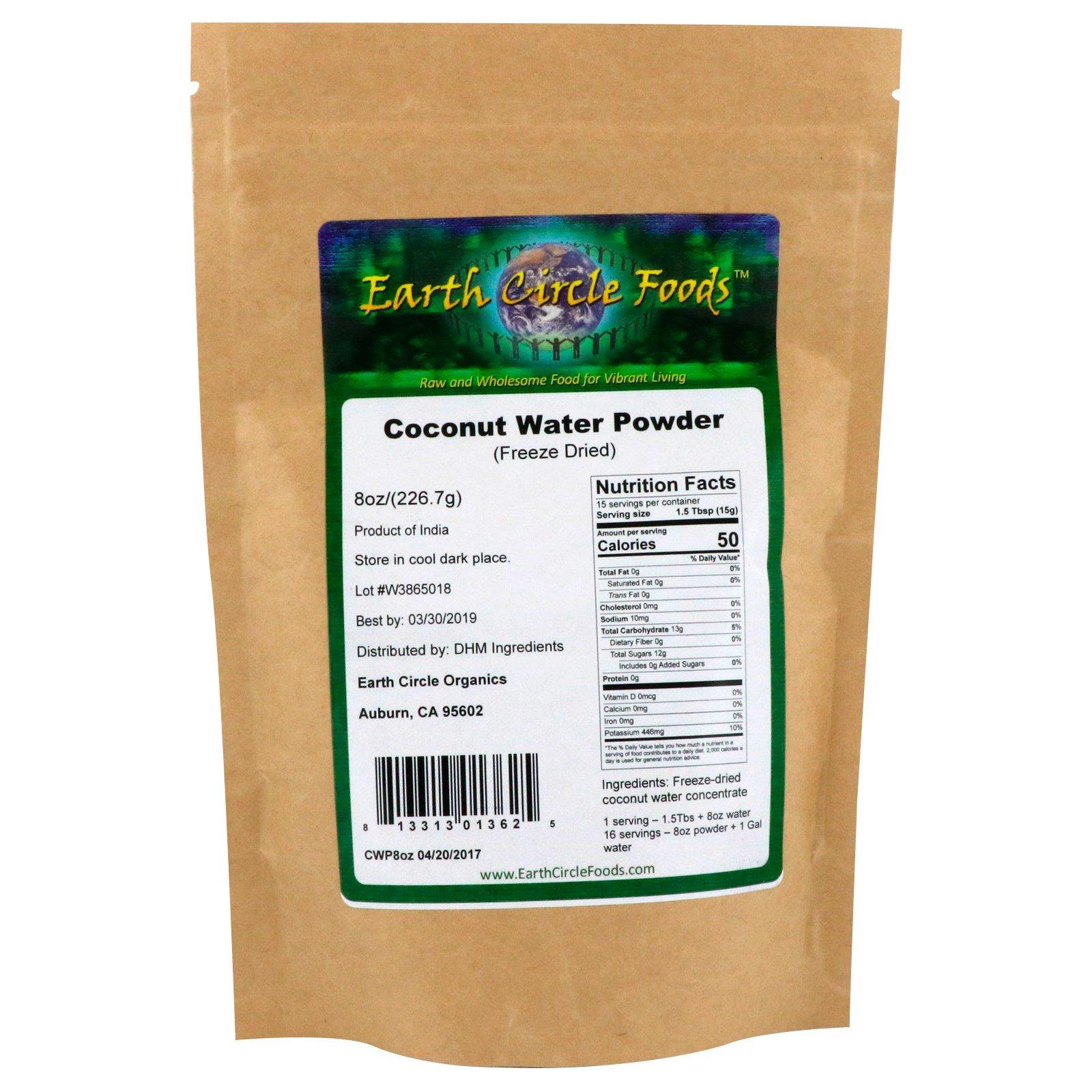 Earth Circle Organics Coconut Water Powder Freeze Dried 8 Oz 2267 G