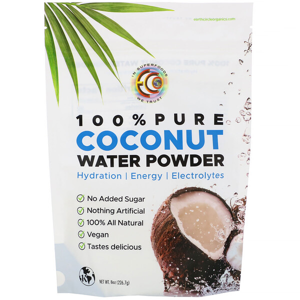 Earth Circle Organics, 100% Pure Coconut Water Powder, 8 oz (226.7 g) (Discontinued Item)