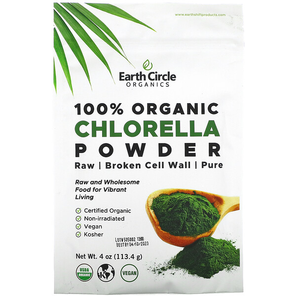 Earth Circle Organics, 100% Organic Chlorella Powder, 4 oz (113.4 g)