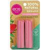 EOS, 100% органический натуральный бальзам для губ с маслом ши, клубничный сорбет, 2шт. в упаковке, 4г (0,14унции)